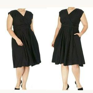 eShakti Stripe Cotton Surplice Fit & Flare Dress